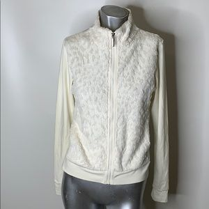 Daily Faux Fur Zip up white jacket Size Small
